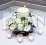 White Rose and Hyd table arr with candle